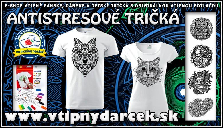 Vtipné tričká s vtipnou potlačou, antistresové omaľovánky vlk sova mačka, drak srdce, humorný darček k narodeninám